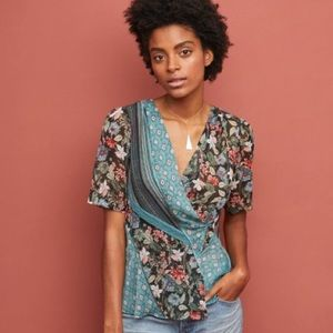 Anthropologie Tiny Lovely Patchwork Wrap Blouse